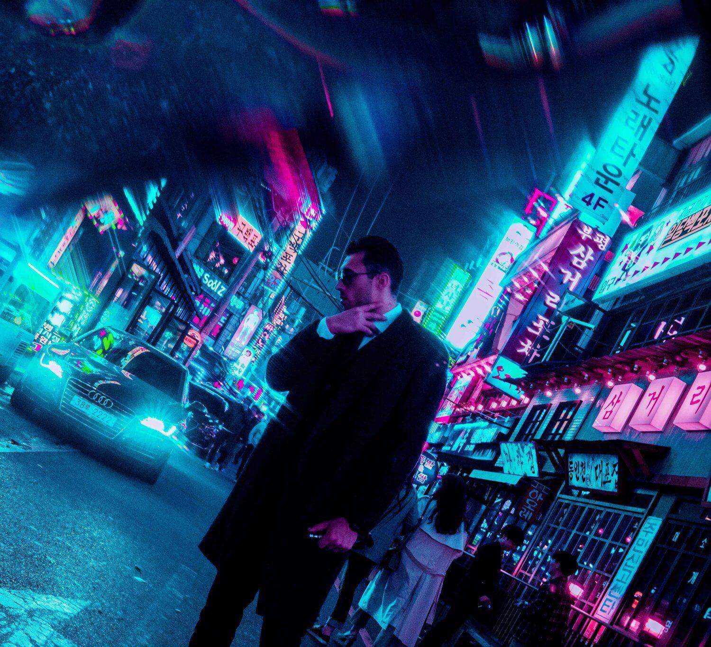 fractals neon portrait flare